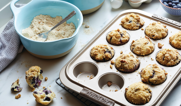 Blueberry Walnut Streusel Muffins