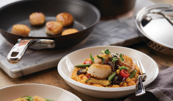 Roasted Red Pepper Polenta Bowl with Market Vegetables & Seared Sea Scallops