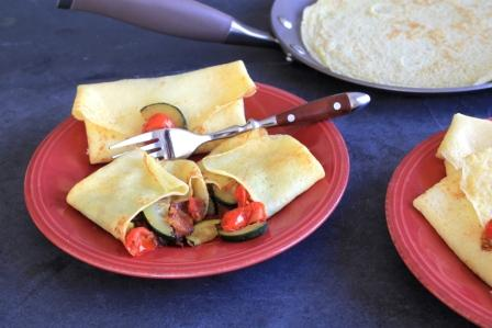Bacon, Caramelized Onion and Sautéed Vegetable Crepes