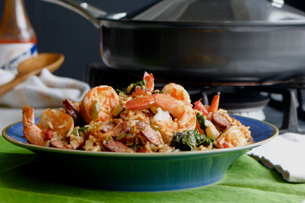 Spicy Mustard Green, Shrimp and Andouille Jambalaya