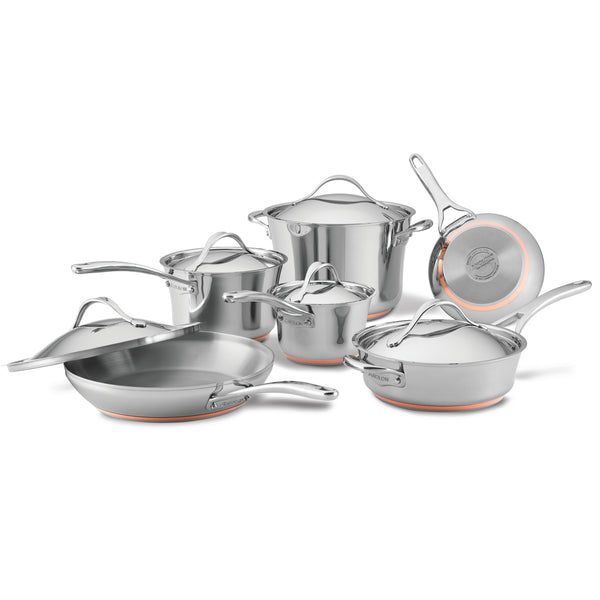Nouvelle Copper Stainless Steel 11-Piece Cookware Set