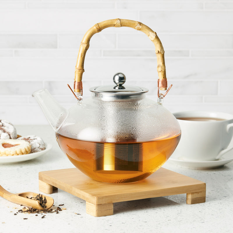 34-Ounce Hand Blown Glass Teapot
