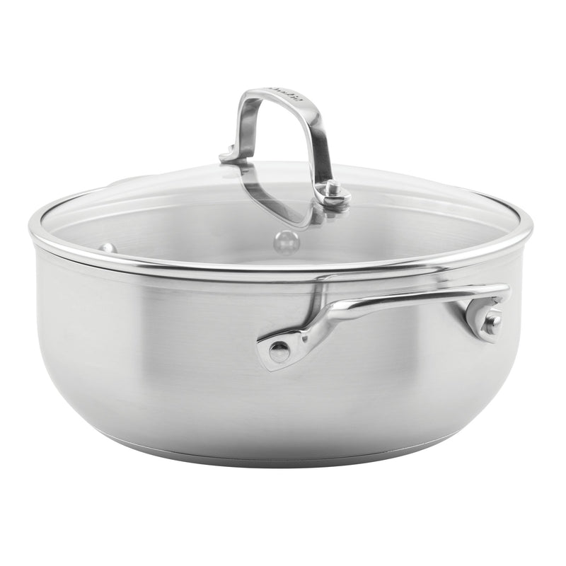 3-Ply Base Stainless Steel 4-Quart Casserole with Lid