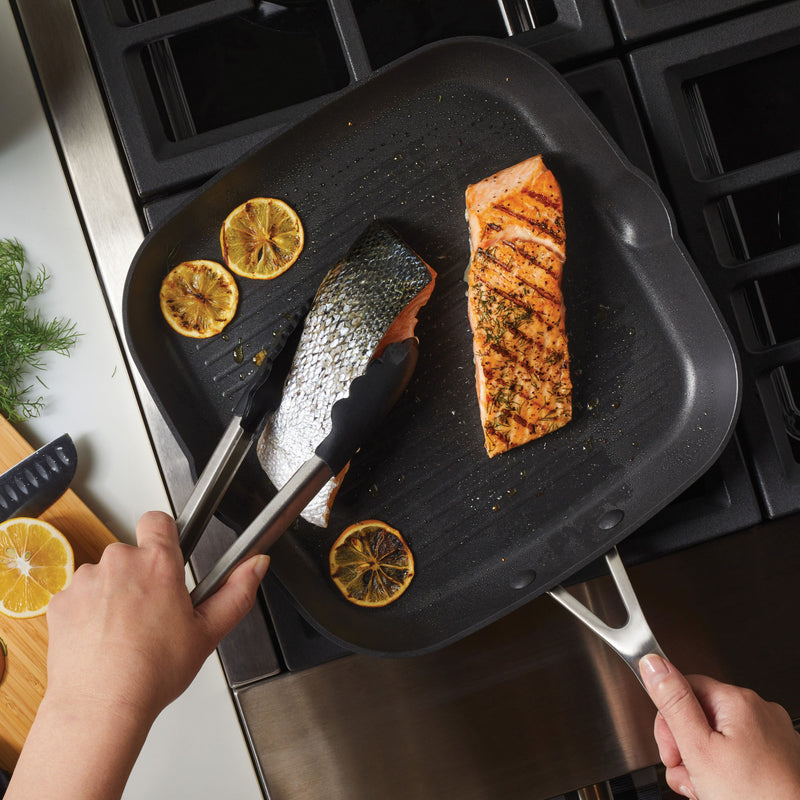 Hard-Anodized Induction 11.25-Inch Nonstick Square Grill Pan