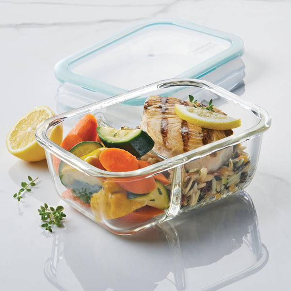 Purely Better™ Glass 2-Piece 32-Oz. Divided Rectangular Container Set