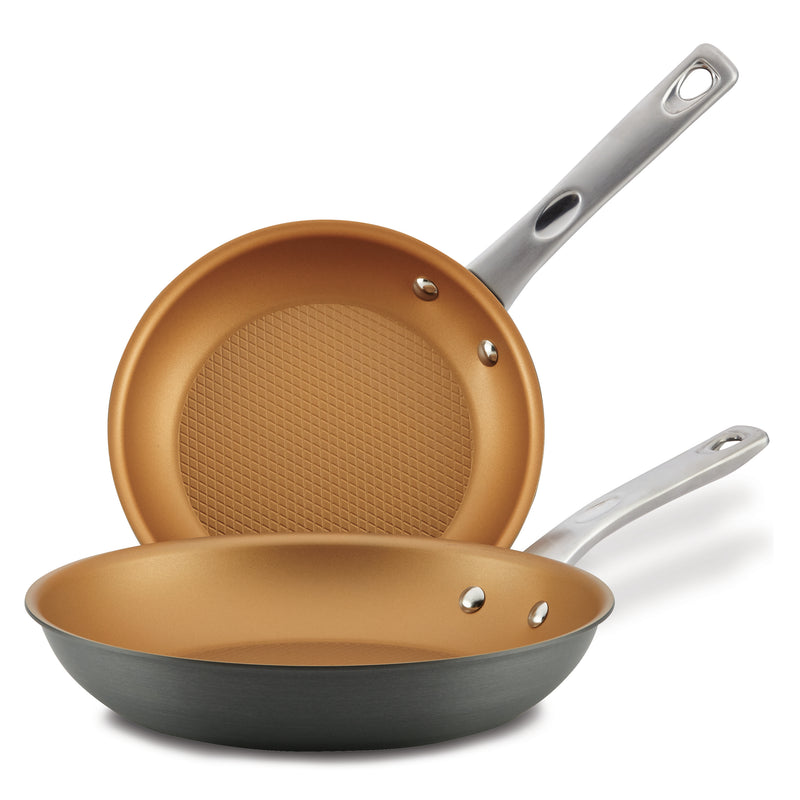 "Hard Anodized 9.25"" & 11.5"" Nonstick Frying Pan Set"