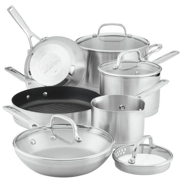3-Ply Base Stainless Steel 10-Piece Cookware Set