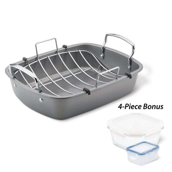 "17"" x 13"" Nonstick Roaster and Leftovers Set"