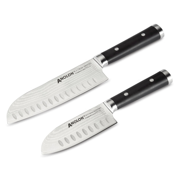Imperion Damascus 2-Piece Santoku Knife Set
