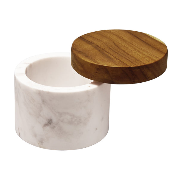 5.25-Ounce Marble Salt Cellar with Wood Lid