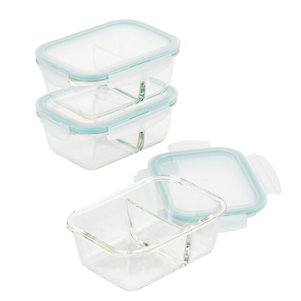 Purely Better Glass 3 Piece 25 Oz Divided Rectangular Container Set Potsandpans