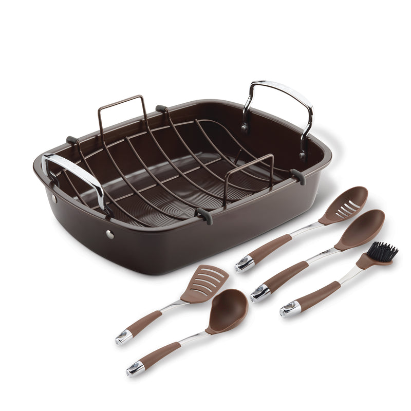 "17"" x 13"" Nonstick Roaster Set"