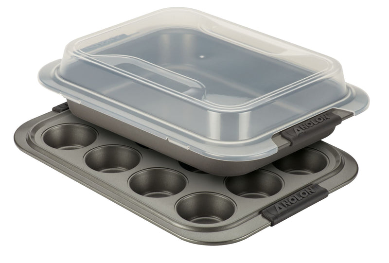 Advanced Bakeware Set with Shared Lid and Silicone Grips
