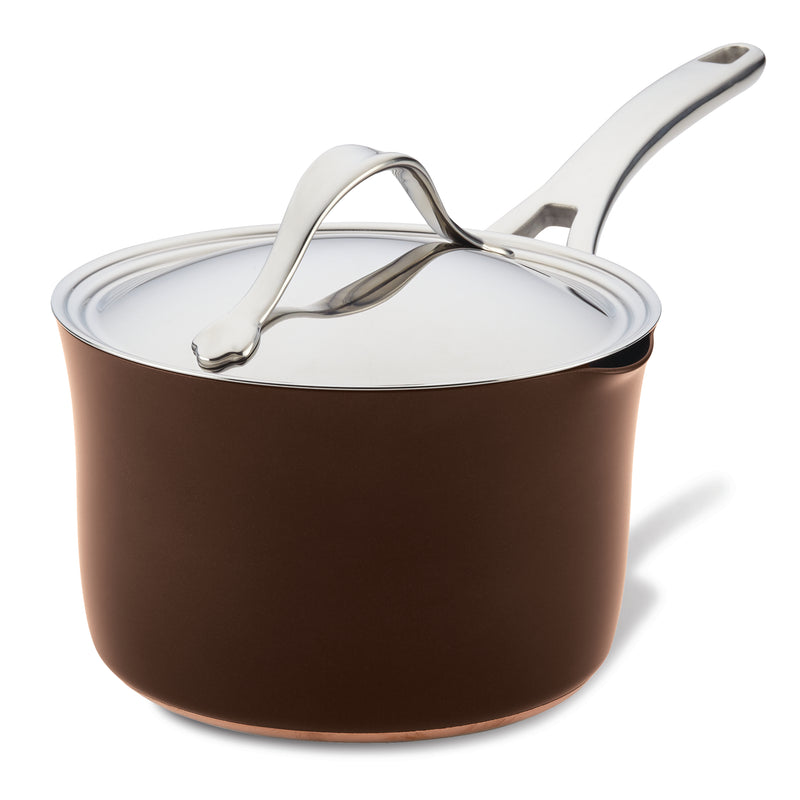 Nouvelle Copper Luxe 3.5-Quart Saucepan with Straining Lid