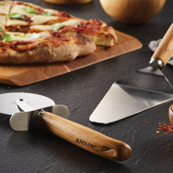 Teak Pizza Cutter and Server Set