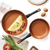 "Glide Copper Ceramic 9.25"" & 11.25"" Nonstick Frying Pan Set"