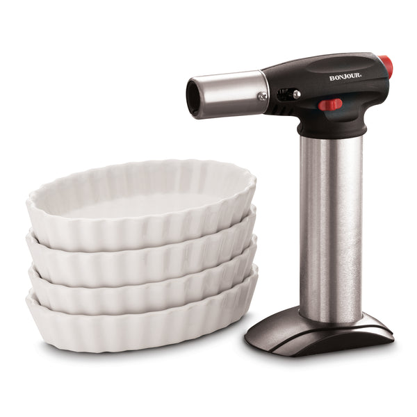 Crème Brulee Torch and Ramekin Set