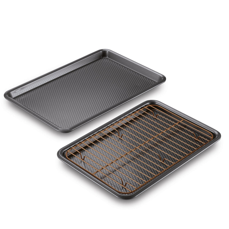 3-Piece Nonstick Baking Sheet Set with Rack