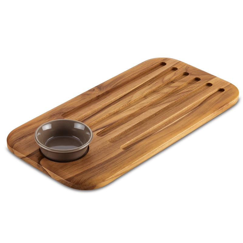 "18"" x 9"" Bread Board and Dipping Dish Set"