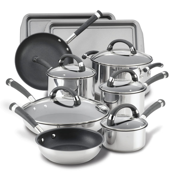 Espree Stainless Steel 14-Piece Nonstick Cookware Set