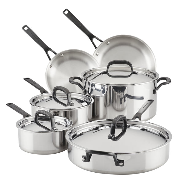 5-Ply Clad Stainless Steel 10-Piece Cookware Set