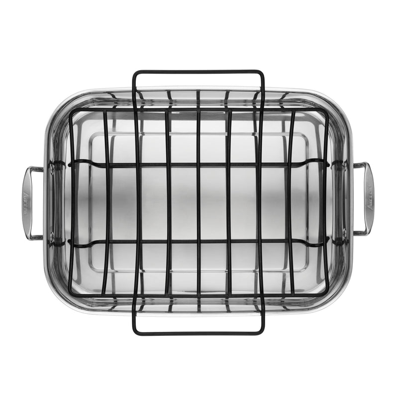 "Tri-Ply Clad 17"" x 12.5"" Rectangular Roaster with Nonstick Rack"
