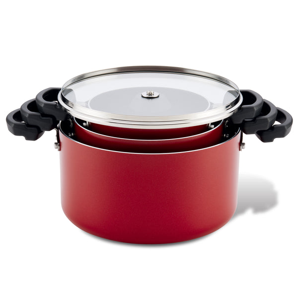 Neat Nest 6-Piece 1.5-Quart, 3.5-Quart & 6-Quart Covered Stacking Saucepot Set