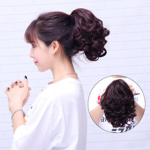 Horsetail short curly hair clip type big wave curly hair ponytail natural realistic fake ponytail strap wig