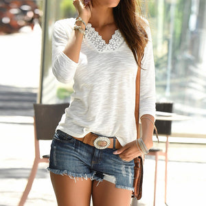 Long Sleeves V Neck Lace Patchwork t-shirt for women