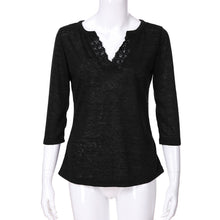 Load image into Gallery viewer, Long Sleeves V Neck Lace Patchwork t-shirt for women