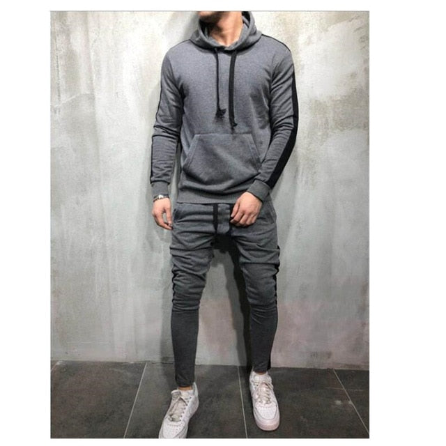 Zipper Tracksuit 2 Pieces Sweatsuit Hooded