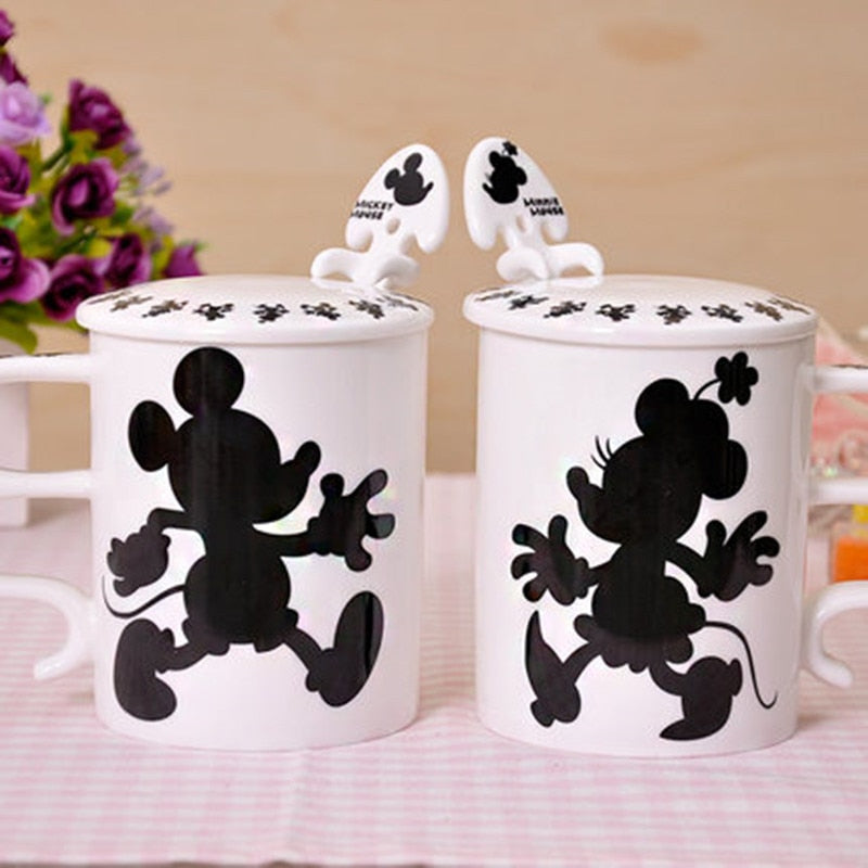 Mickey Minnie Ceramic Cup with Spoon