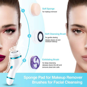 4 In 1 Ultrasonic Electric Facial Cleansing Brush Massager
