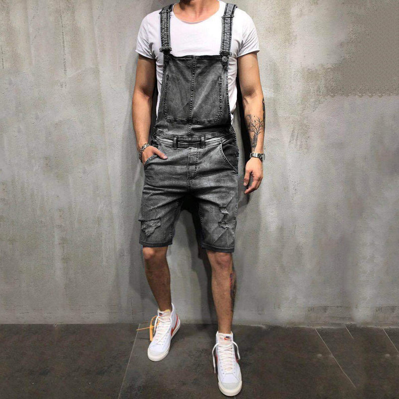 New Fashion For Men's Sling Denim Simple Attraction Jumpsuit