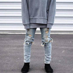 Youth Casual Cool Loose Solid Color Hole Denim Pants