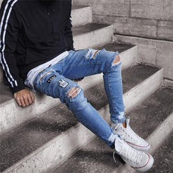 Casual Fashion Sport Youth Hole Denim Pants