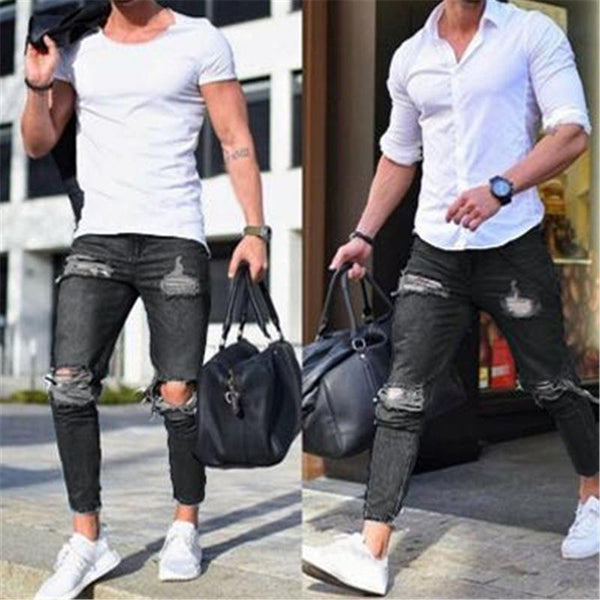 Men's Broken Feet Jeans Foot Zipper Denim Pants