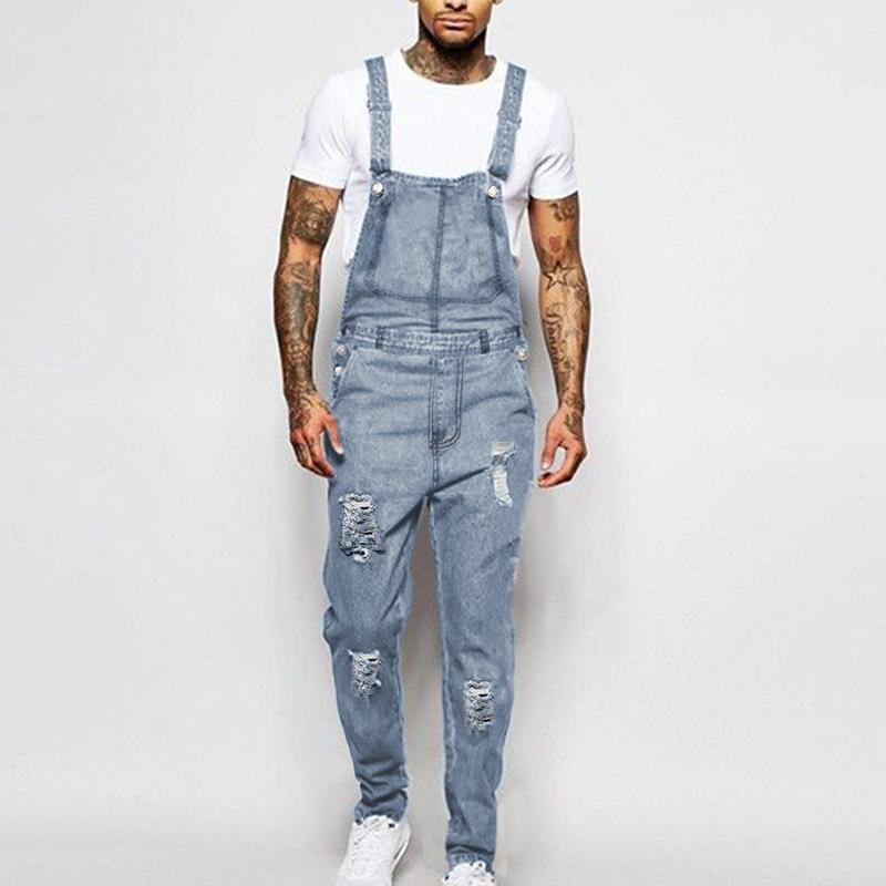 Men's Fashion Holed Denim Suspenders Pants Jumpsuits