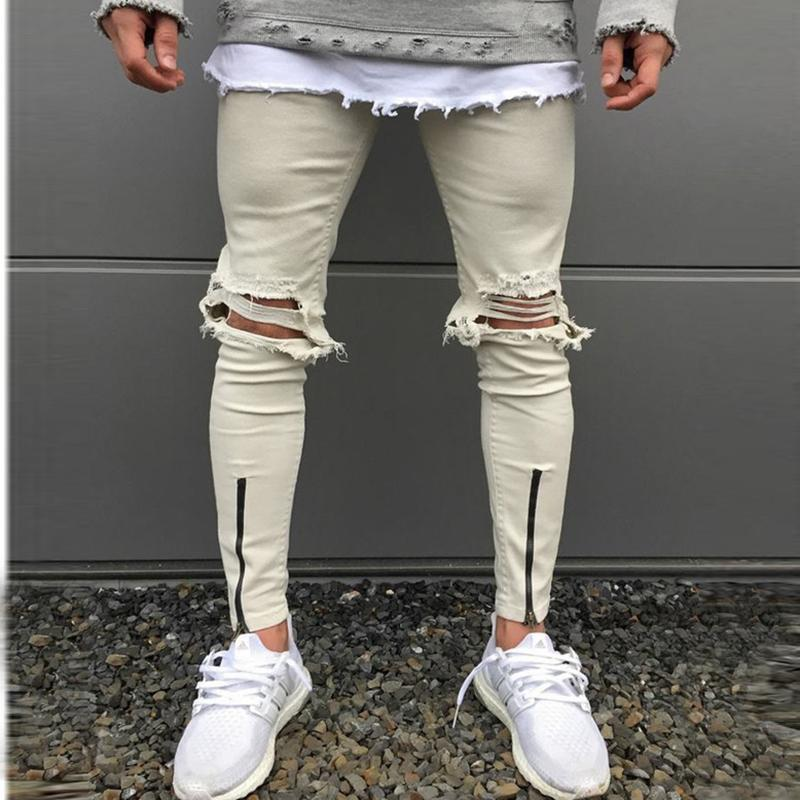 New Fashion Slim Trousers Zip Pleated Jeans