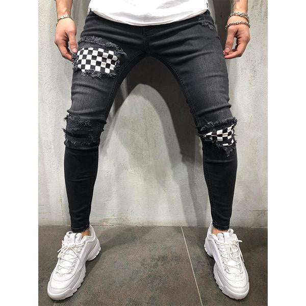 Men's Fashion Slim-Fit Ripped Plaid Jeans