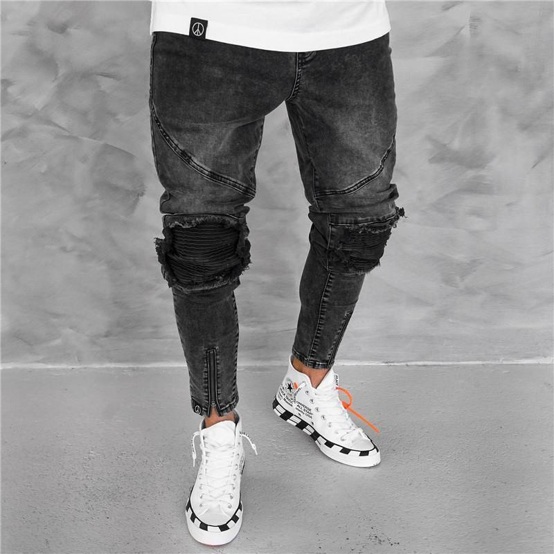 Retro Chic Hole Wrinkle Zipper Denim Pencil Pant