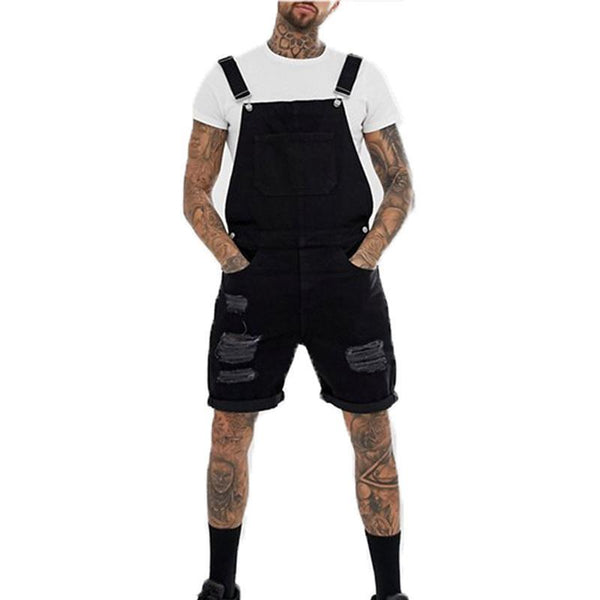 New Mens Hole Hip Hop Ripped Short Jeans Jumpsuits Distressed Denim Overalls Knee Length Suspender Cowboy Pants