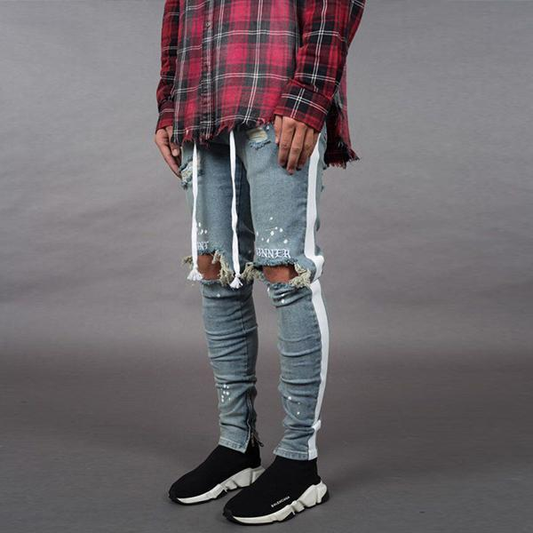 Street Style Men's Colorblock Ripped Slim-Fit Jeans