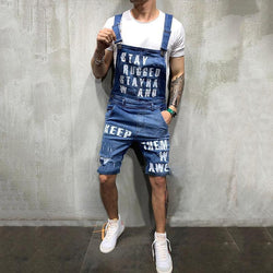 Fashion Casual Letter Strap Denim Men  Shorts