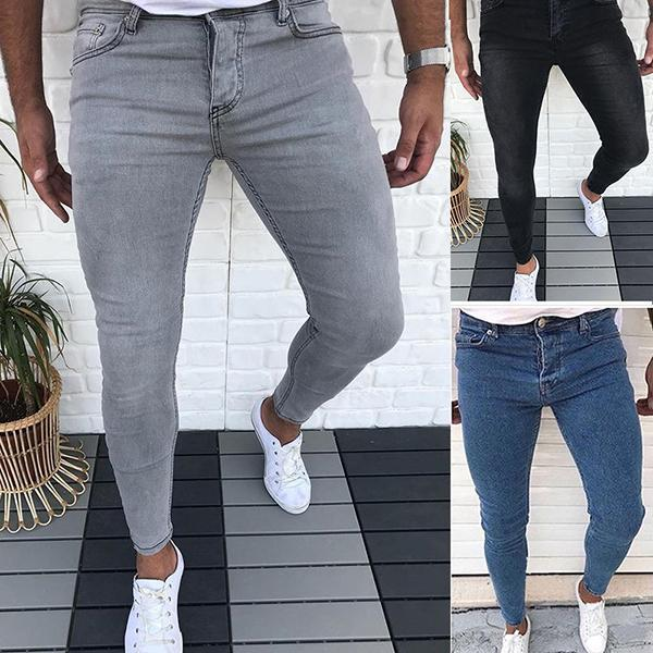 Fashion Pure Colour Slim Fit Low Waist Jeans