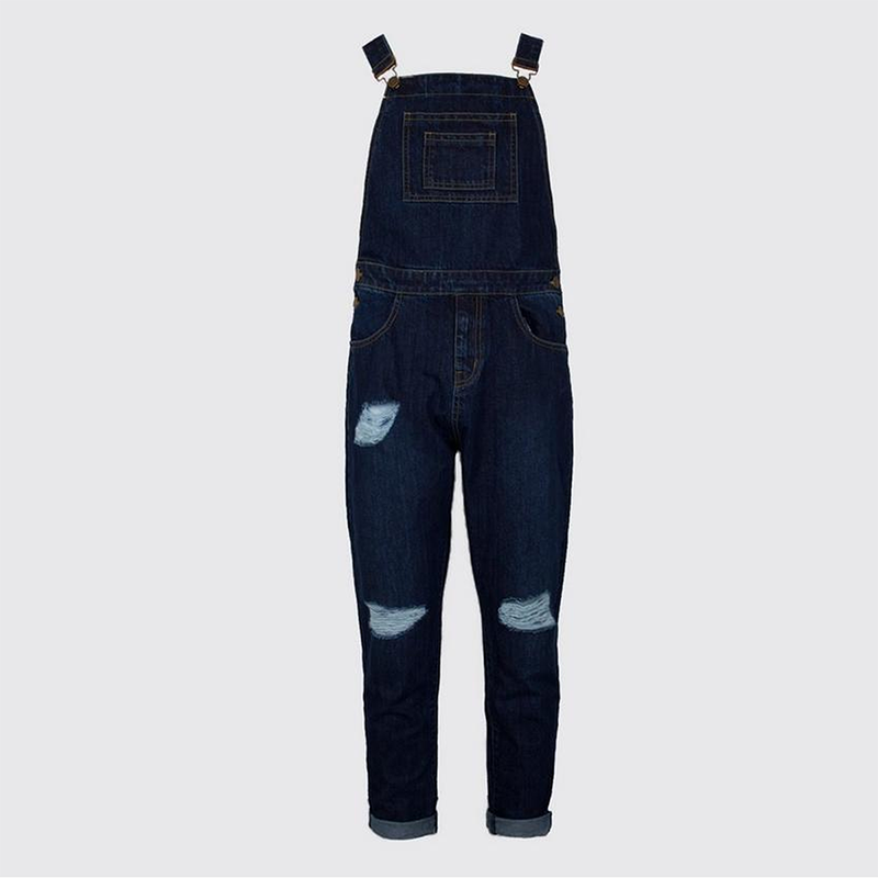 Fashion Pocket Metal Button Denim Hole Jumpsuits