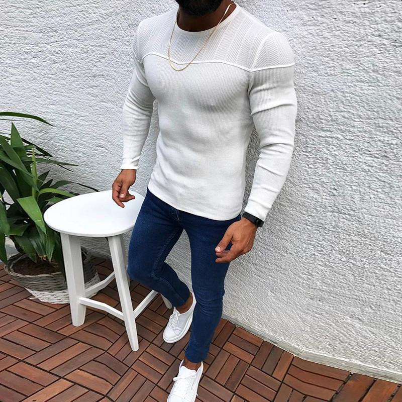 Fashion Solid Color Round Neck Long Sleeve Casual Sweaters