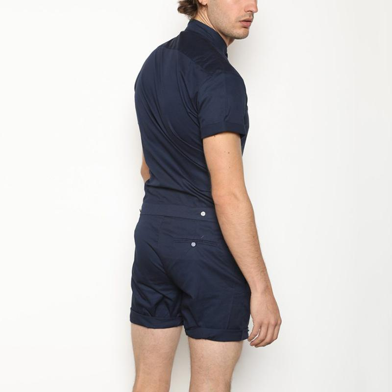 Fashion Slim Fit Stand Collar Single-Breasted Romper