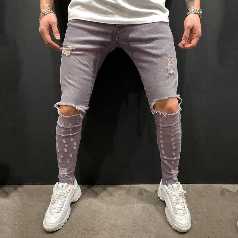 Men's Fashion Ripped Hole Denim Skinny Jeans