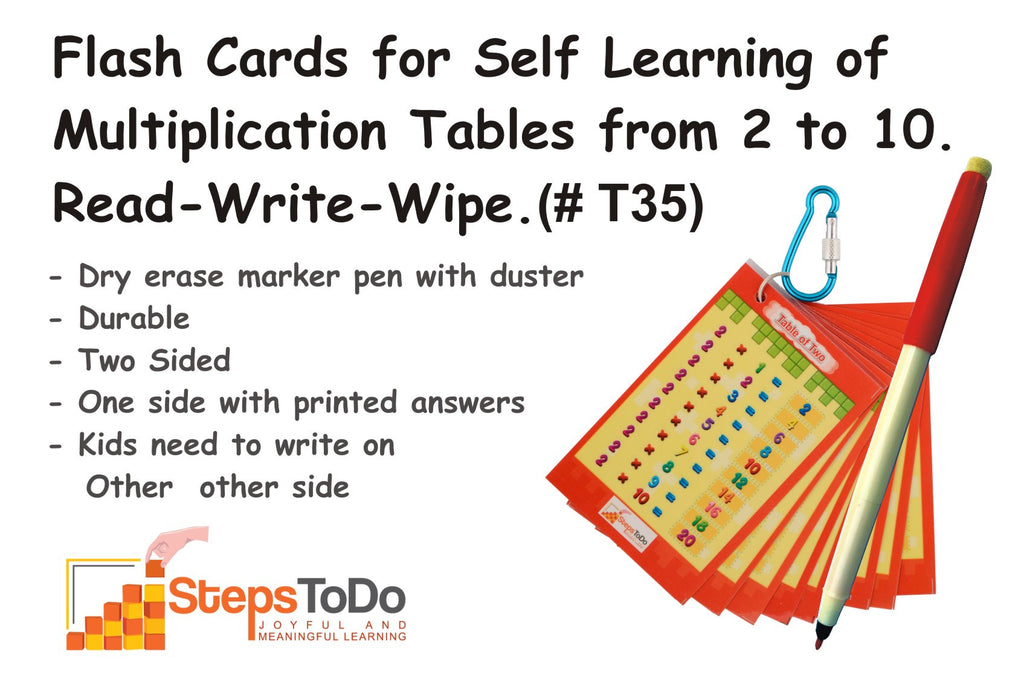 #T35 - Flash Cards for Self Learning of Multiplication Tables from 2 to 10. One Sets of 9 Flash Cards. With Key Chain Ring and Dry Erase Marker Pen. Read-Write-Wipe & Reuse.